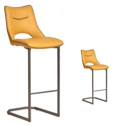 Duo de Chaises de bar Simili cuir Moutarde - JANNA