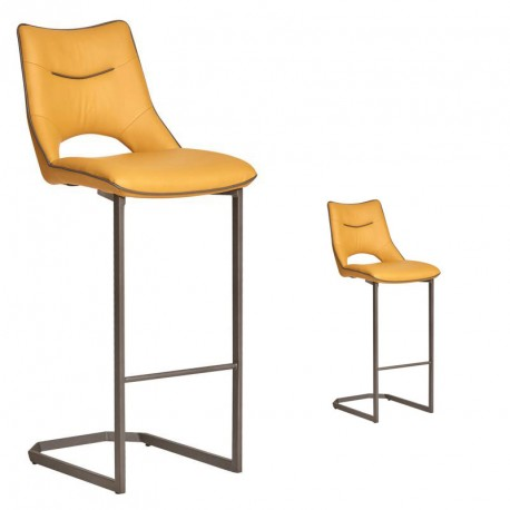 Duo de chaises de bar Simili cuir Jaune Moutarde - JANNA