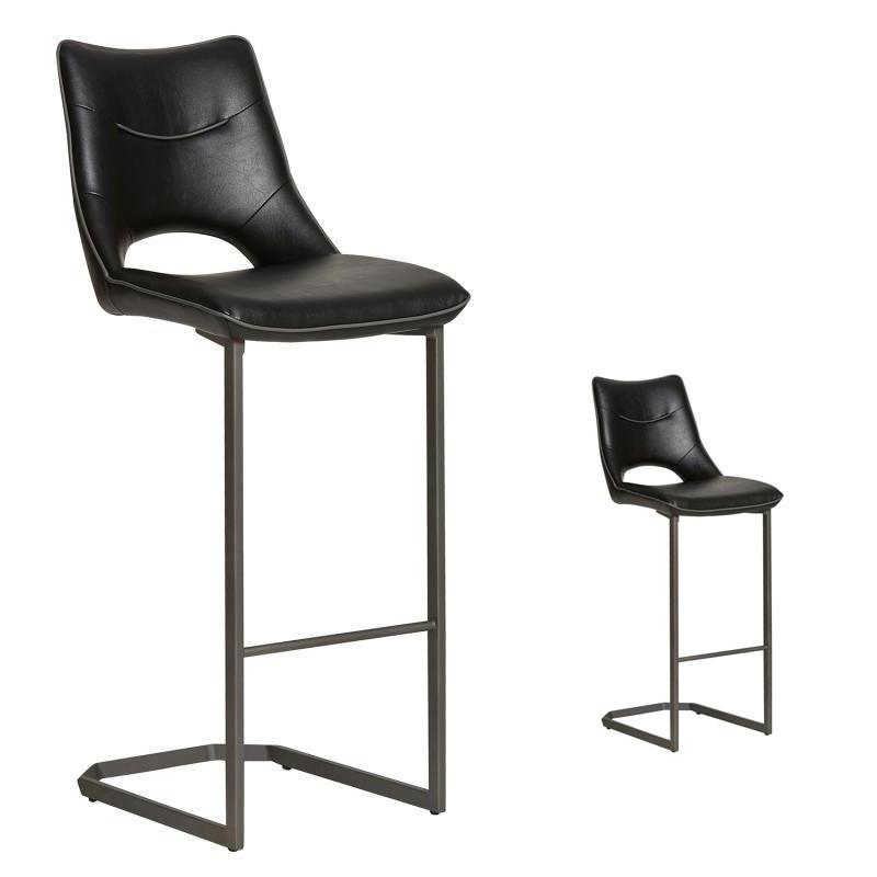 Duo de Chaises de bar Simili cuir Noir - JANNA