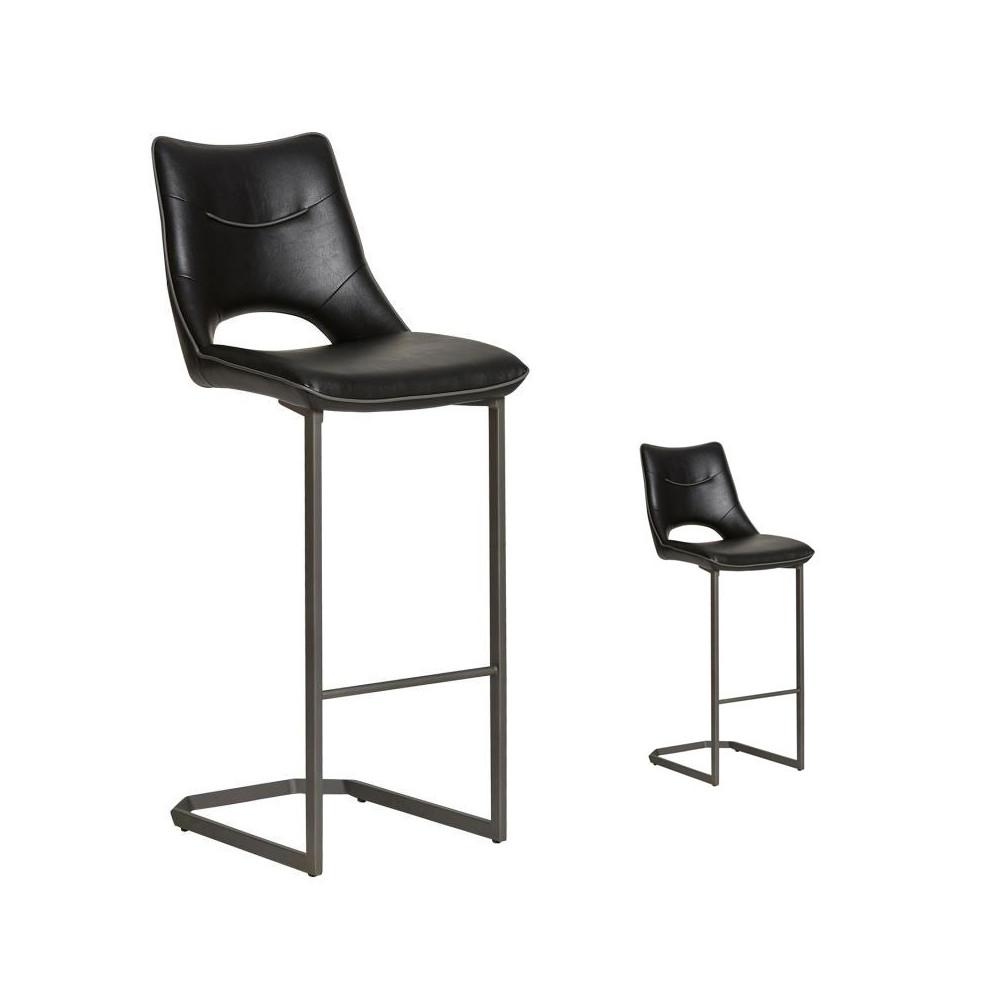 Duo de chaises de bar Simili cuir Noires - JANNA