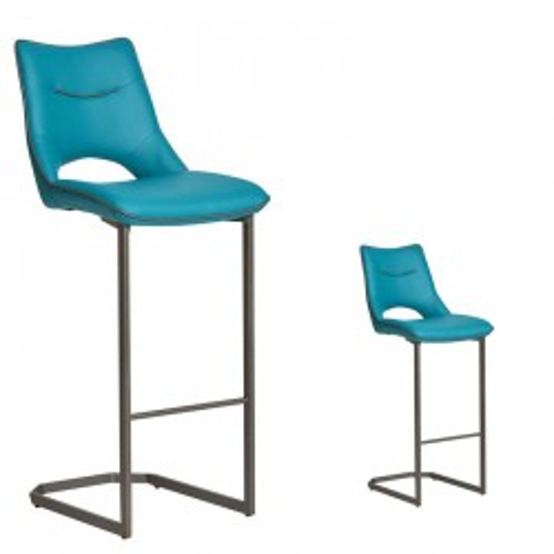 Duo de Chaises de bar Simili cuir Turquoise - JANNA