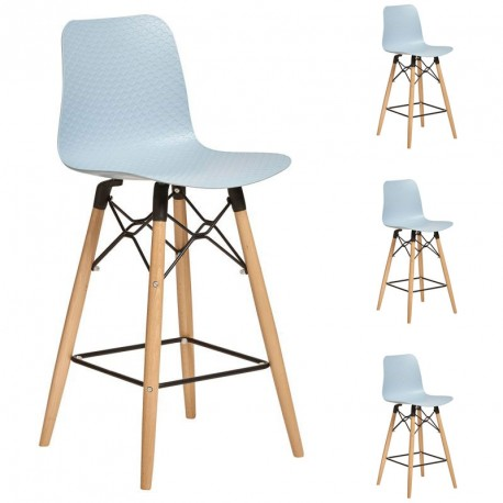 Quatuor de Chaises de bar Bleues scandinaves - ANNE