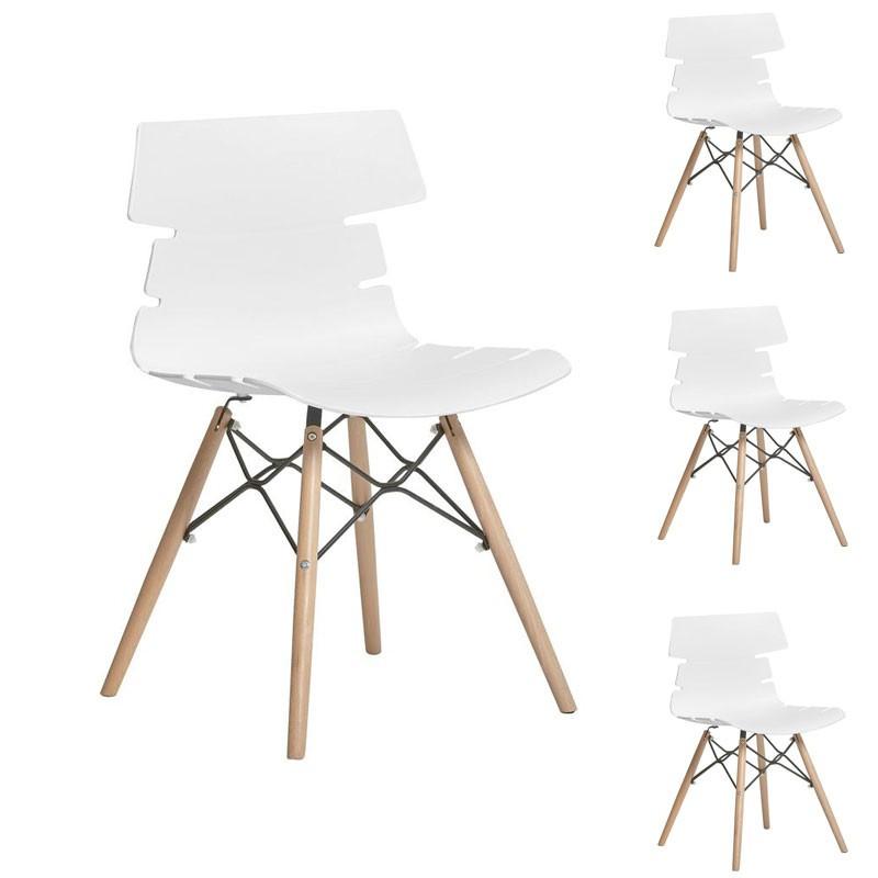 Quatuor de chaises Blanches/pieds en bois - SIRY