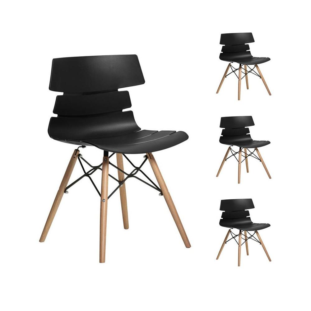 Quatuor de chaises Noires/pieds en bois - SIRY
