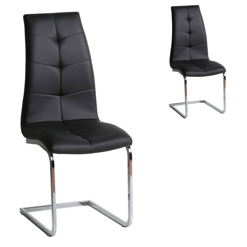 Duo de chaises Simili cuir Noir - SPARTACUS