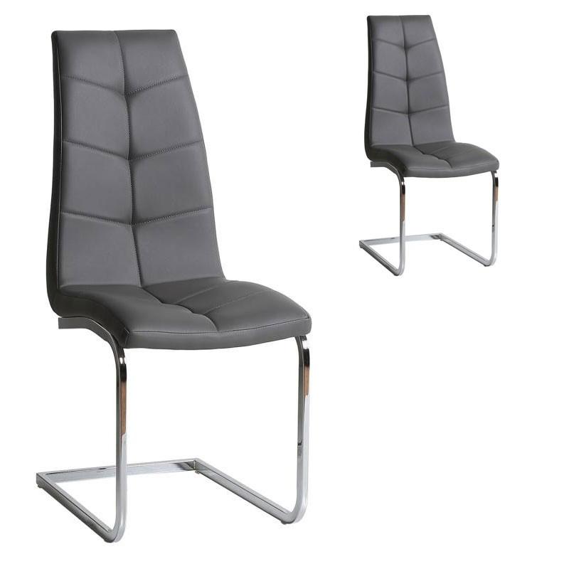 Duo de chaises Simili cuir Gris - SPARTACUS