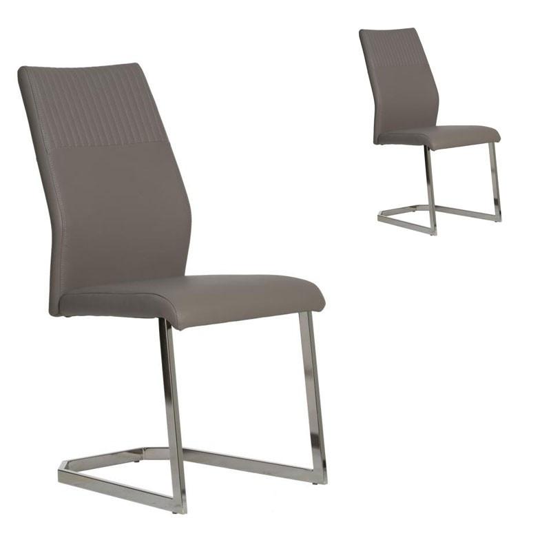 Duo de chaises Simili cuir Gris - MAUD