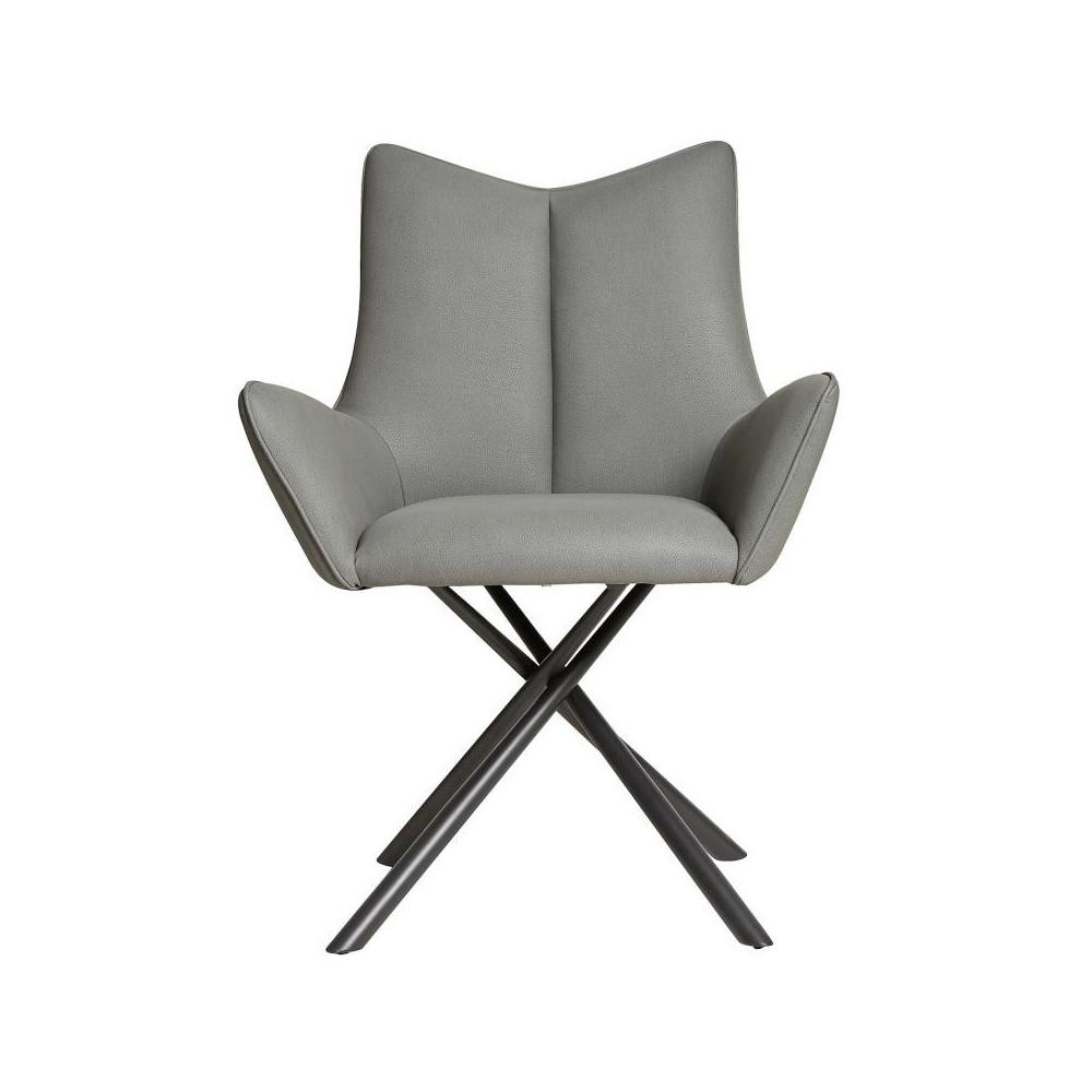 Chaise en Simili cuir Gris - MATHILDE