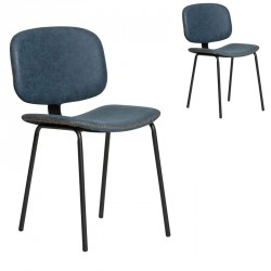 Duo de chaises en Simili cuir Bleu - MARGOT