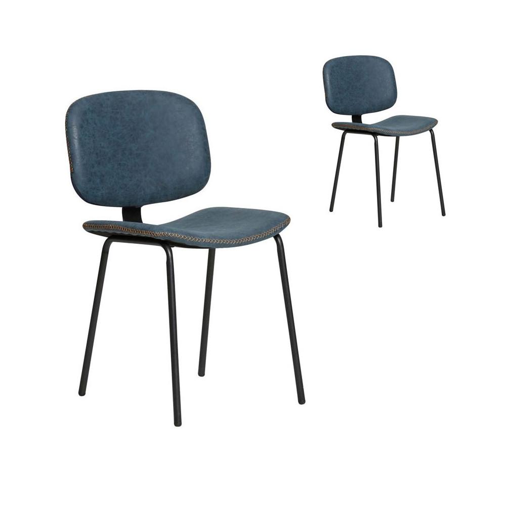 Duo de chaises en Simili cuir Bleu - MARGOT
