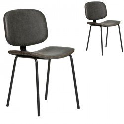 Duo de Chaises Simili cuir Gris - MARGOT