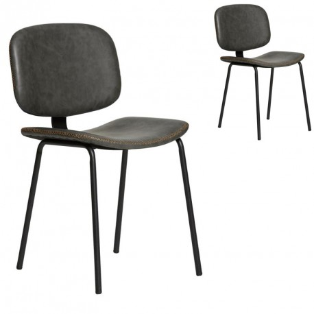 Duo de chaises en Simili cuir Gris - MARGOT