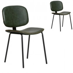 Duo de chaises en Simili cuir Vert - MARGOT