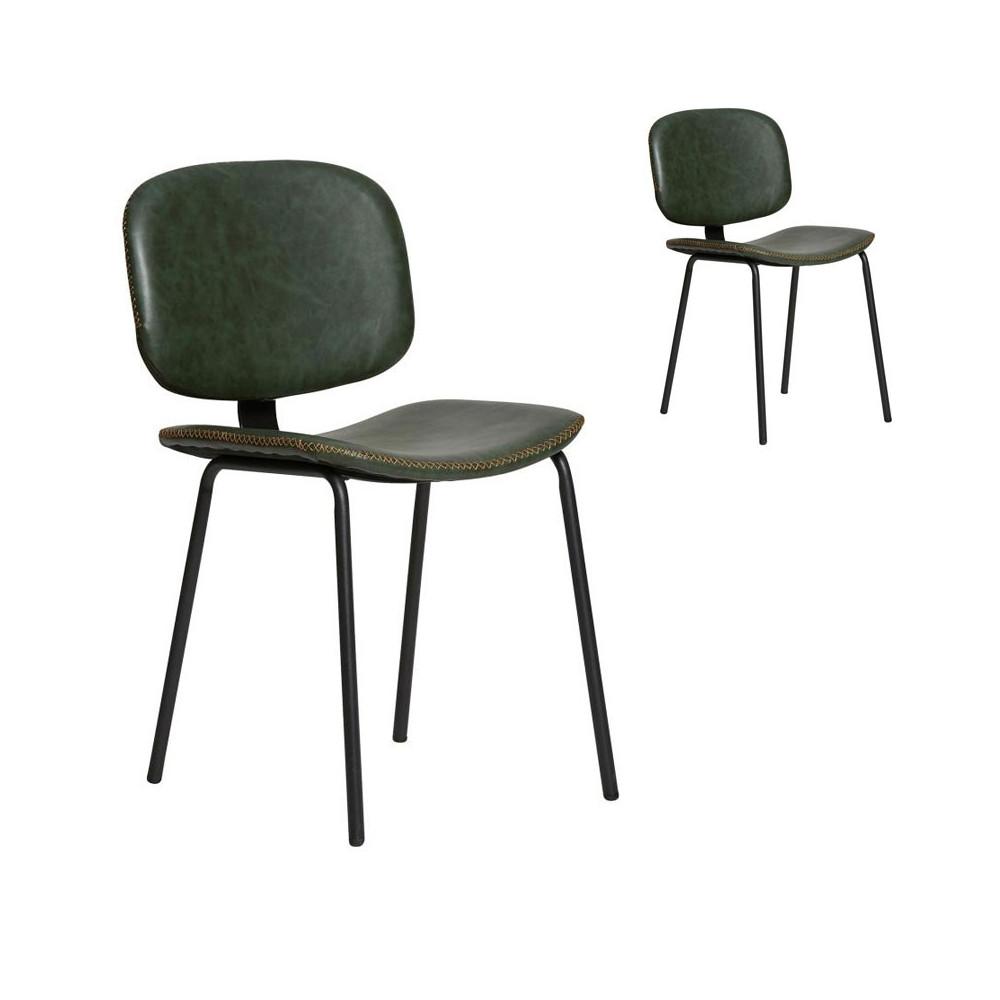 Duo de chaises en Simili cuir Vert - MARGOT