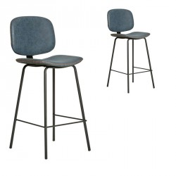 Duo de Chaises de bar en Simili cuir Bleu - MARGOT
