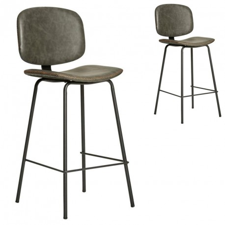 Duo de Chaises de bar en Simili cuir Gris - MARGOT