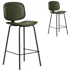 Duo de Chaises de bar Simili cuir Vert - MARGOT