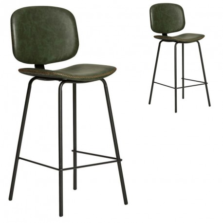 Duo de Chaises de bar en Simili cuir Vert - MARGOT