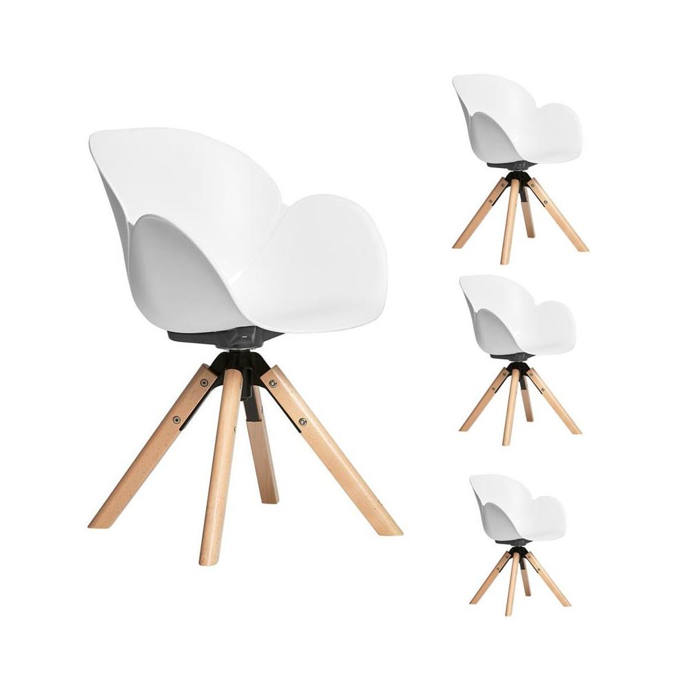 Quatuor de fauteuils Blancs scandinaves - ANNE