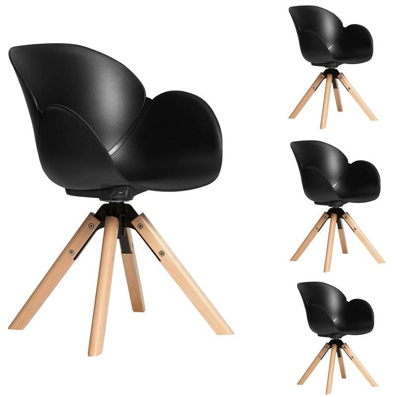 Quatuor de fauteuils Noirs scandinaves - ADRIEN
