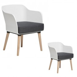 Duo de Fauteuils Blanc/Gris - PAUL