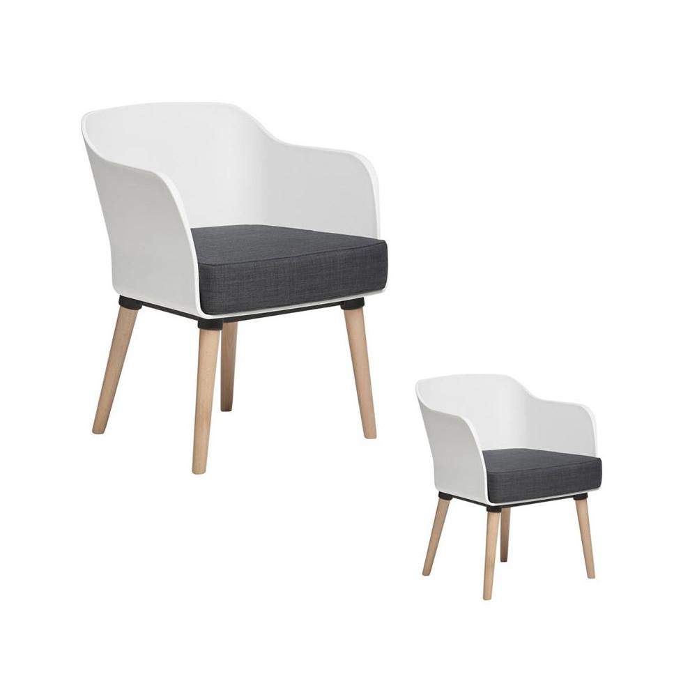 Duo de fauteuils Blancs avec coussin en tissu - PAUL