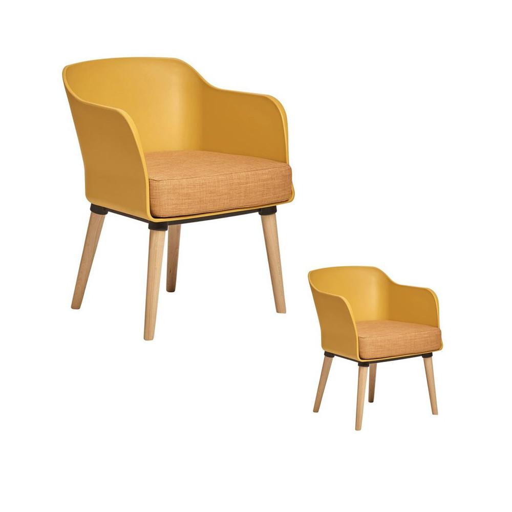 Duo de fauteuils Jaunes avec coussin en tissu - PAUL