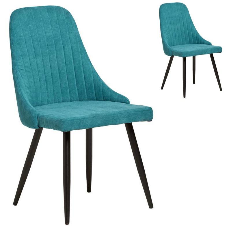 Duo de Chaises tissu Bleu turquoise - SAM