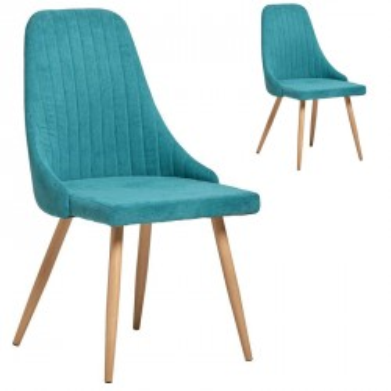 Duo de Chaises tissu Turquoise - SAM n°2