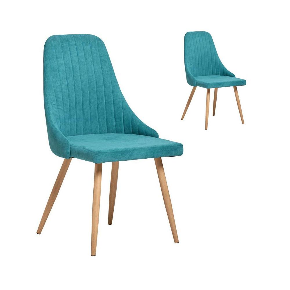 Duo de Chaises tissu Bleu turquoise - SAM n°2