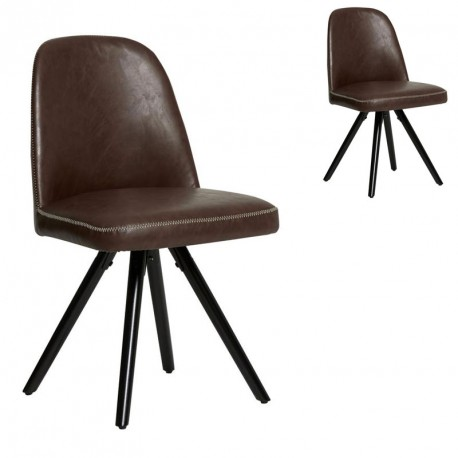 Duo de Chaises Simili cuir Chocolat - CLEMENT