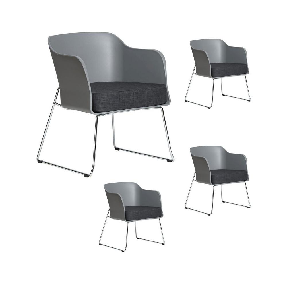 Quatuor de fauteuils Gris avec coussin en tissu - VICTOR
