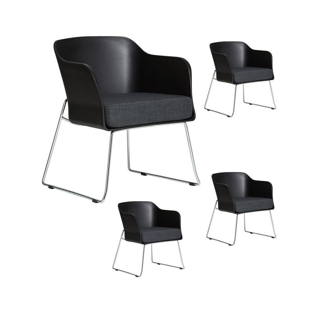 Quatuor de fauteuils Noirs avec coussin en tissu - VICTOR