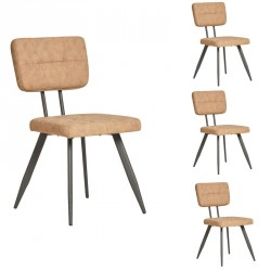 Quatuor de Chaises Simili cuir Sable - VIRGILE