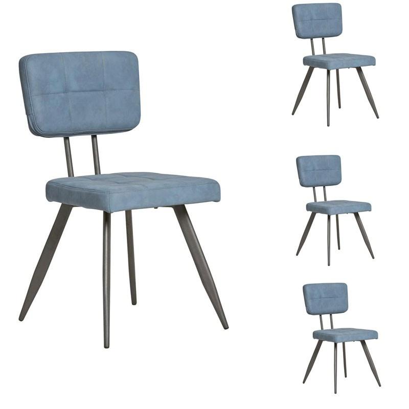 Quatuor de chaises en Simili cuir Bleu - VIRGILE