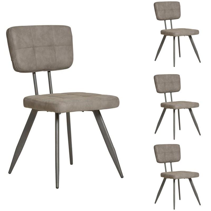 Quatuor de chaises en Simili cuir Gris - VIRGILE