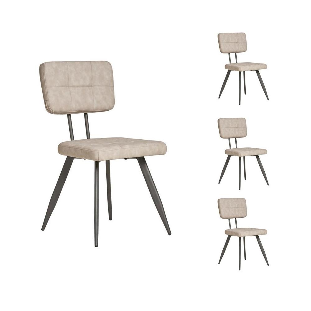 Quatuor de chaises en Simili cuir Gris clair - VIRGILE