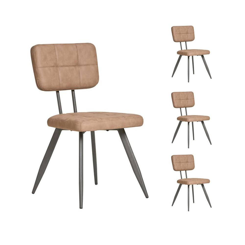 Quatuor de chaises en Simili cuir Taupe - VIRGILE