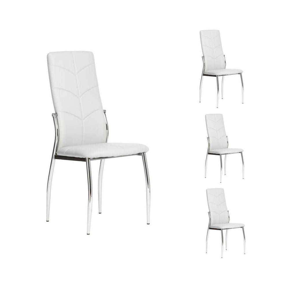 Quatuor de chaises Simili cuir Blanc - AMAURY