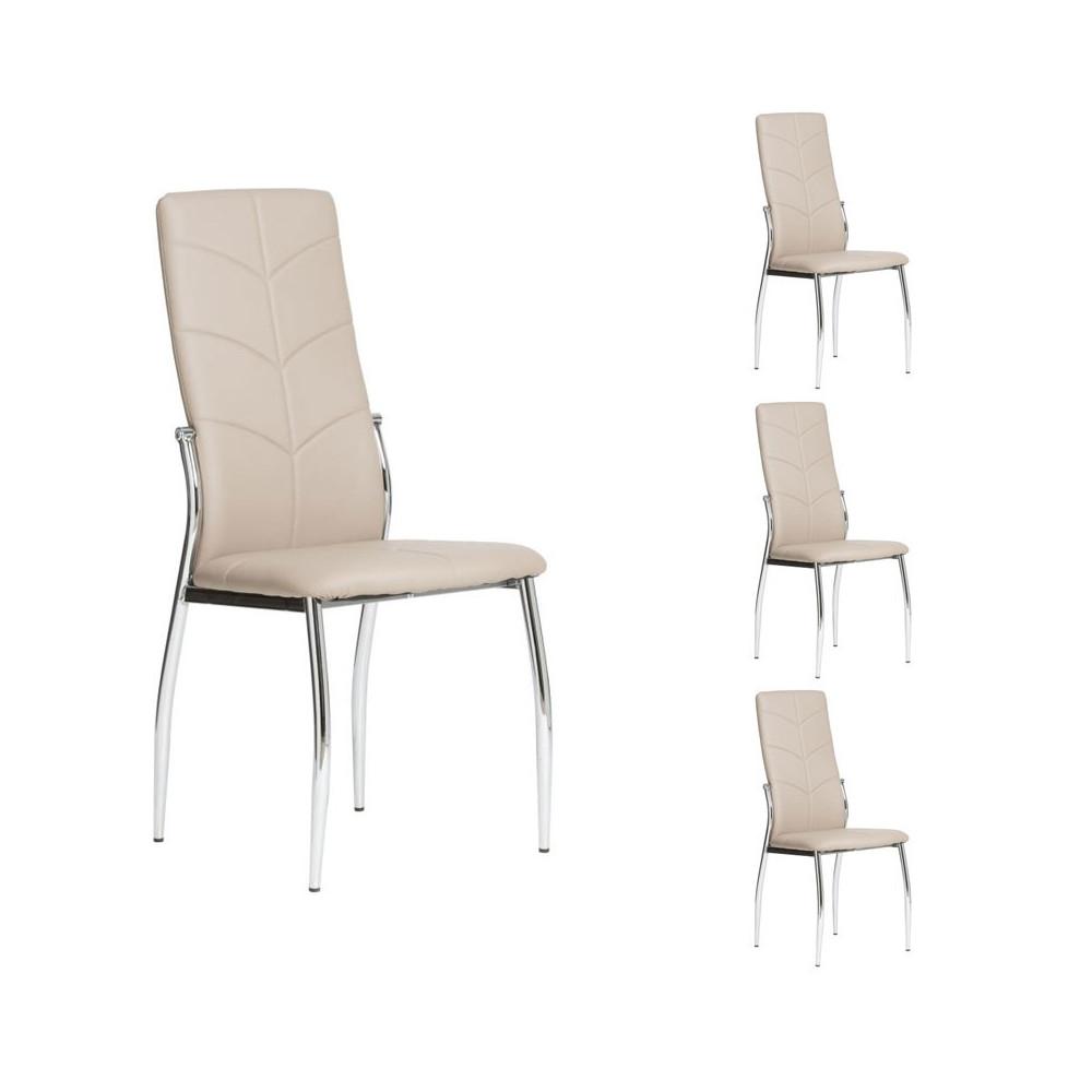 Quatuor de chaises Simili cuir Cappuccino - AMAURY