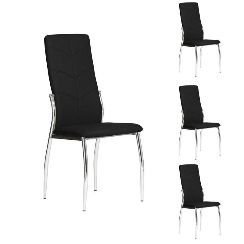Quatuor de chaises Simili cuir Noir - AMAURY