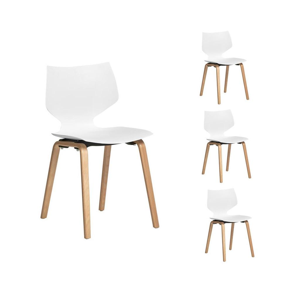 Quatuor de chaises Blanches - EMILE