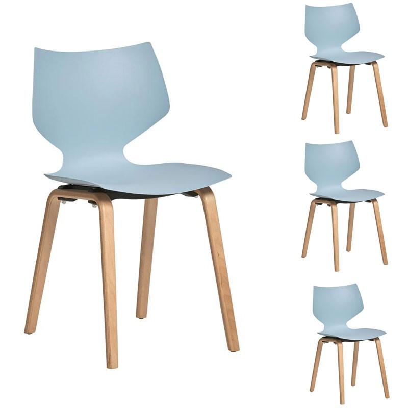 Quatuor de chaises Bleu ciel - EMILE