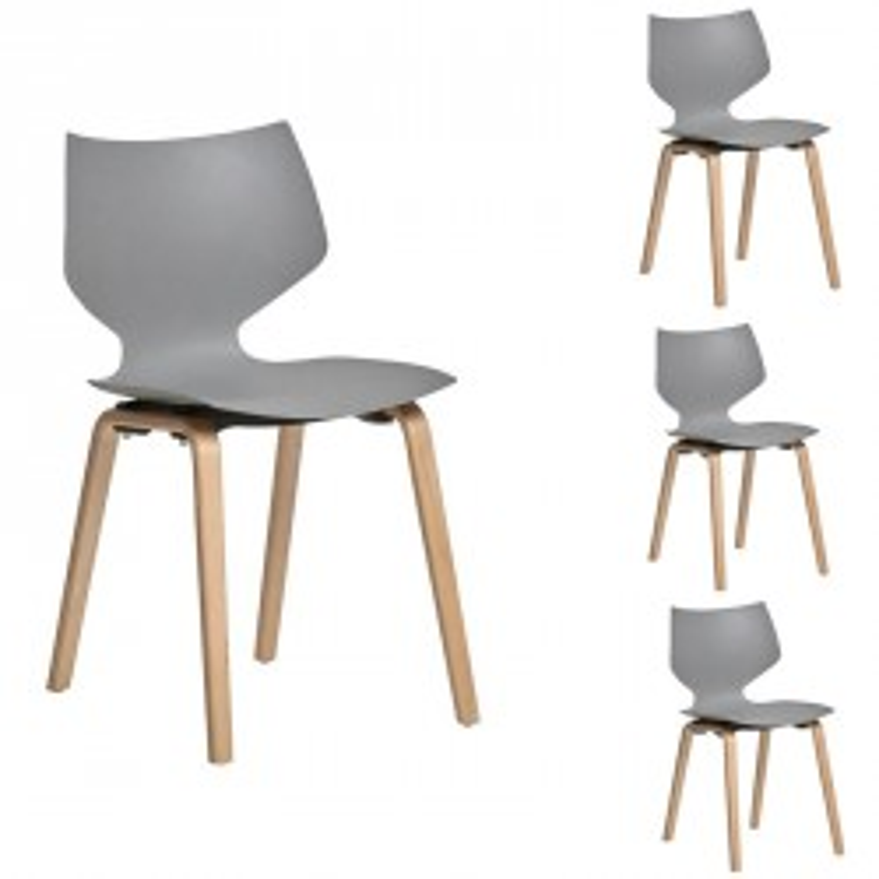 Quatuor de chaises Grises - EMILE