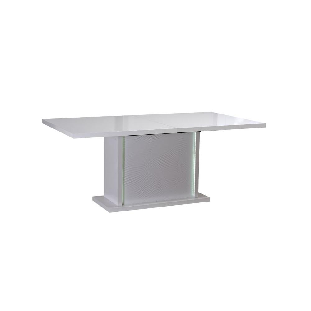 Table de repas à allonge bois Laqué Blanc à LEDs moderne - Univers Salle à Manger : Tousmesmeubles