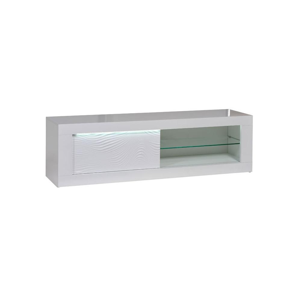 Meuble TV 1 porte coulissante bois Laqué Blanc à LEDs moderne - Univers Salon : Tousmesmeubles