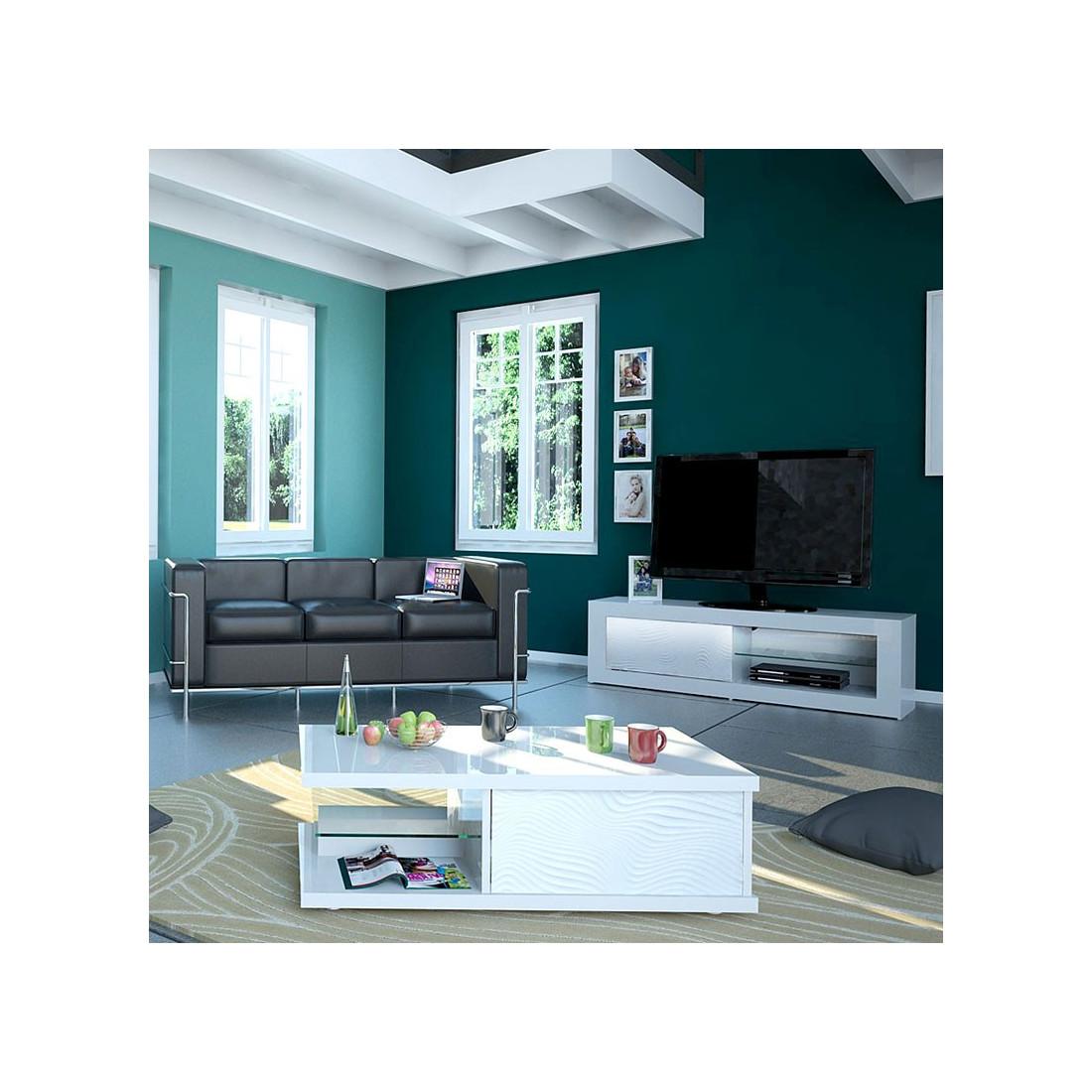 meuble tv 1 porte coulissante laqu blanc leds marks. Black Bedroom Furniture Sets. Home Design Ideas