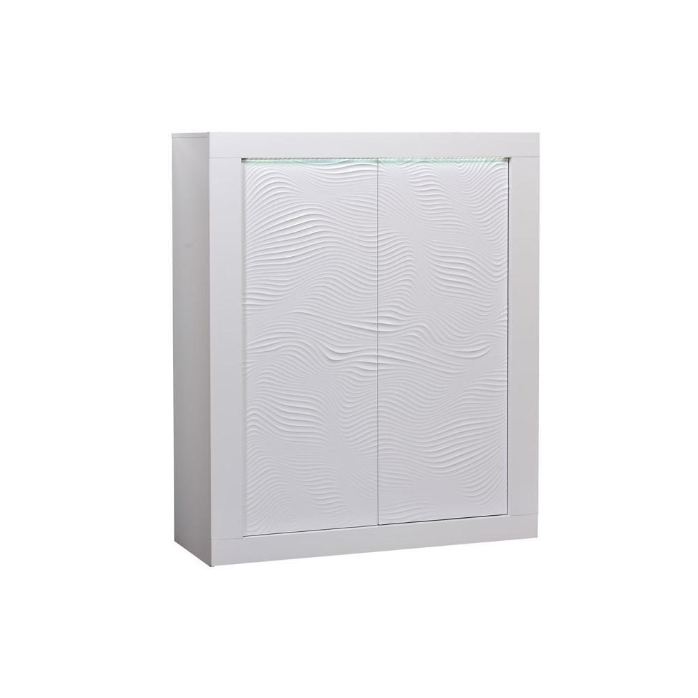 Vaisselier 2 portes bois Laqué Blanc à LEDs contemporain - Univers Salle à Manger : Tousmesmeubles