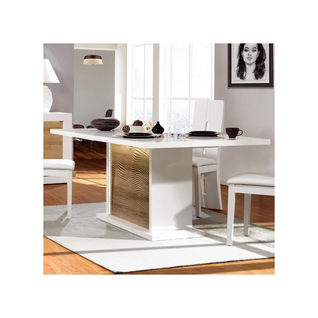 Table Chene Clair Avec Rallonge: Table Repas à Allonge Blanc/Chêne Clair à LEDs MARKS