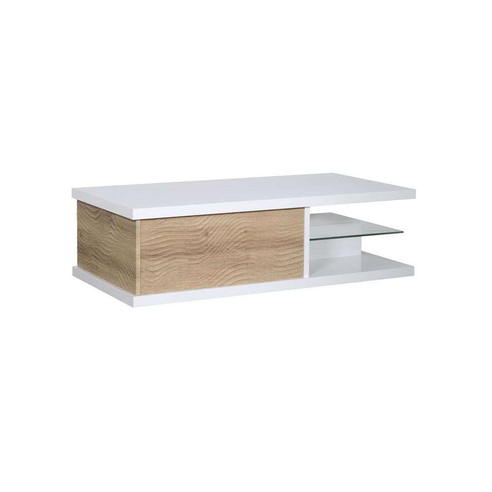Table basse 1 tiroir Blanc/Bois contemporain - Univers Salon : Tousmesmeubles